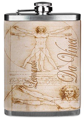 Vinci Da Bridesmaids - Mugzie brand 7 Oz Hip Flask with Insulated Wetsuit Cover - Da Vinci: Man