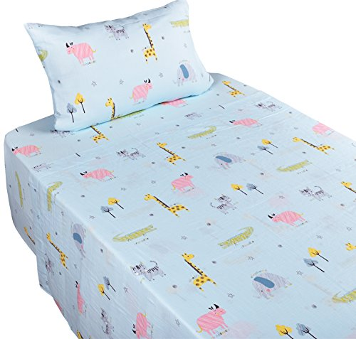J-pinno Jungle Forest Animals Cute Boys Girls Double Layer Muslin Cotton Bed Sheet Set Twin, Flat Sheet & Fitted Sheet & Pillowcase Natural Hypoallergenic Bedding Set (19, Twin) by J-pinno