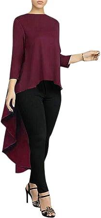 iSunday Mujer Camisa de Manga Larga Asimétrico Cascada Tops Espalda Cola Larga Blusa - Rojo Vino, Large: Amazon.es: Hogar