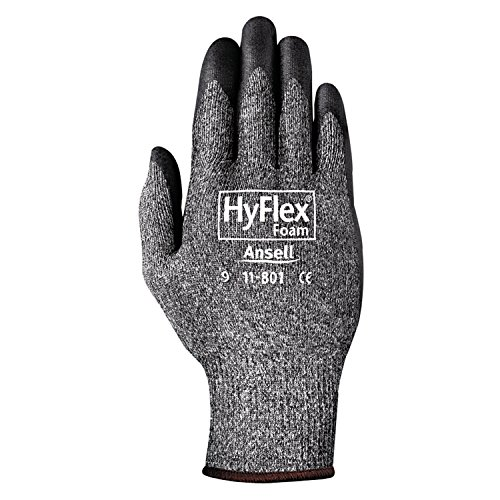 Ansell 11-801-10 HyFlex Foam Gray Gloves, Size 10, Black/Gray (Pack of 12)