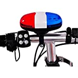 SODIAL Bicycle Bell 6 LED 4 Tone Horn LED Light Electronic Siren Bicycle Bells for Kids Bike Accessories