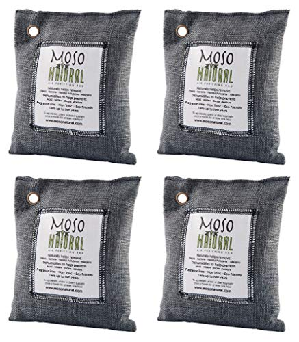 4 Pack Moso Natural 200 gm Air Purifying Bag Deodorizer. Odor Eliminator for Cars, Closets, Bathrooms and Pet Areas. Absorbs and Eliminates Odors. Charcoal - Air Bag It