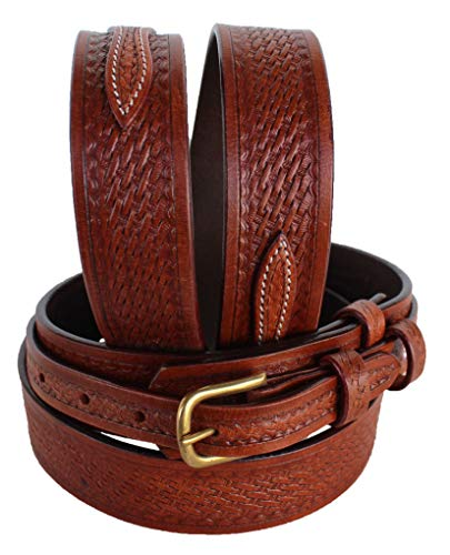 PRORIDER 31-32 Men's Western Ranger Belt Tooled Leather Basket Weave 26Ranger02 (Blanket Antique Wool)