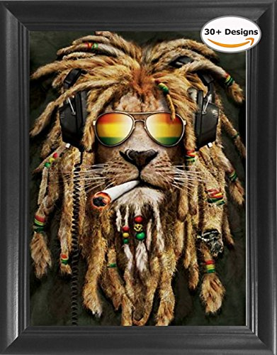 Rasta Pothead Lion Framed 3D Lenticular Picture- Unbelievable Life Like 3D Art Pictures, Lenticular Posters, Cool Art Deco, Unique Wall Art Decor, With Dozens to Choose From!