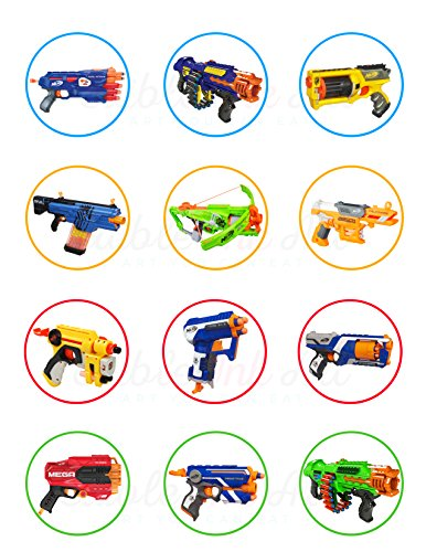Price comparison product image Nerf Toys Blaster Guns Edible Cupcake Toppers (12 Images) Cake Image Icing Sugar Sheet Edible Cake Images strgth