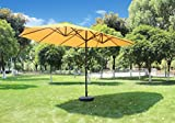 Patio Watcher 15-Ft Long Umbrella with Double Canopy,250GSM Fabric,12 Steel Ribs,Beige Review