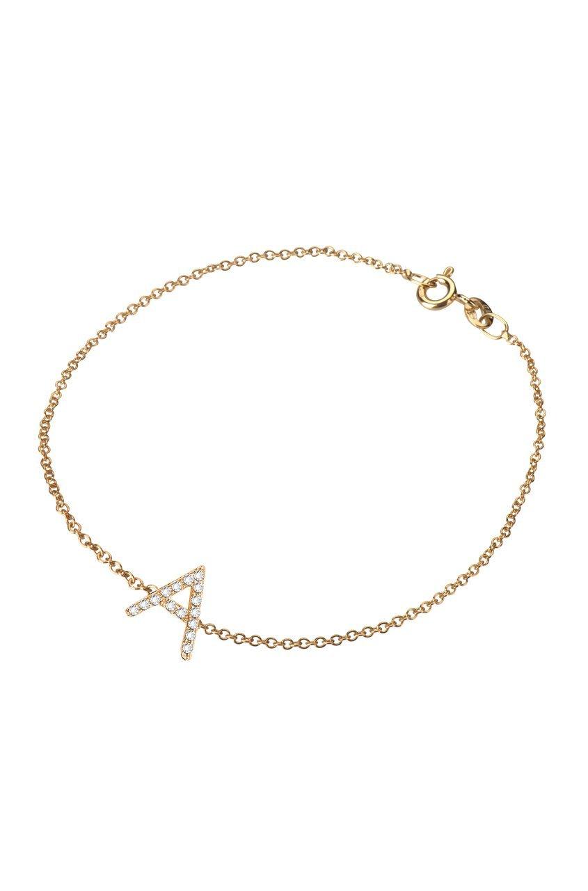 Diamond initial bracelet, 14k solid gold, personalized bracelet
