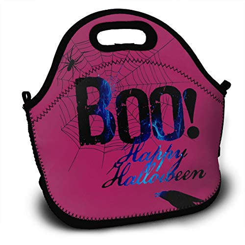 Boo Happy Halloween Free Printable Lunch Tote Bag With Detachable Adjustable Shoulder Strap Lightweight And Waterproof Reusable Insulated Thermal Washable Lunch Box With Zipper