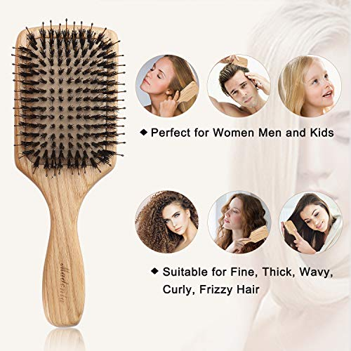 Paddle Brush, Boar Bristle Wooden Hair Brush for Women Men and Kids, Making Hair Smooth, Massaging Scalp, Packed in a Wooden Gift Box