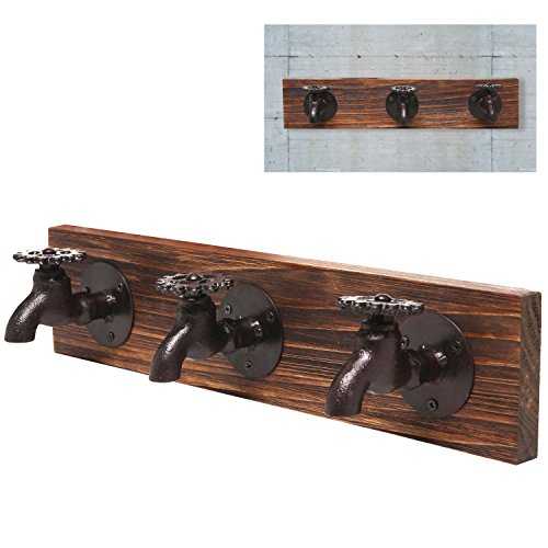 Country Rustic Faucet Iron & Wood 3 Coat Hooks