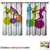 Best Div X Players - Bowling Party Outdoor Curtain for Patio Player Silhouettes Review