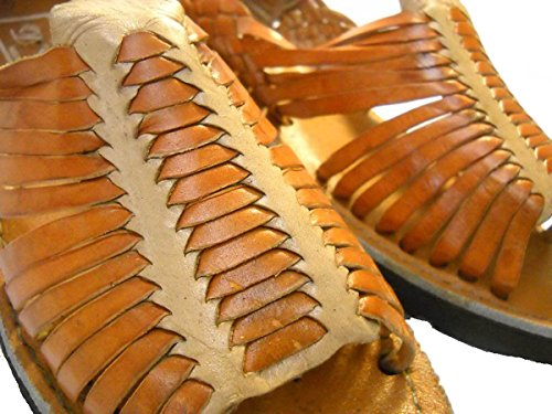 Mexikanska Sandaler-mens Äkta Läder Handgjorda Sandaler Huarache Tan-beige