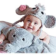 Ximkee Cute Newborn Baby Boy Girl Infant Crochet Elephant Costume Photo Photography Props 0-6 Months