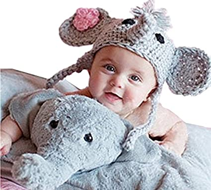 b2539da1a51 Amazon.com  Ximkee Cute Newborn Baby Boy Girl Infant Crochet Elephant  Costume Photo Photography Props 0-6 Months  Home   Kitchen