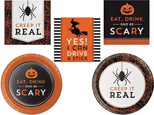 Adult Halloween Party Tableware Entertaining Party Kit, 96ct -