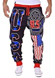 LuShmily Men's Jogger Trousers Sport Pants With USA Flag Printing Navy XL