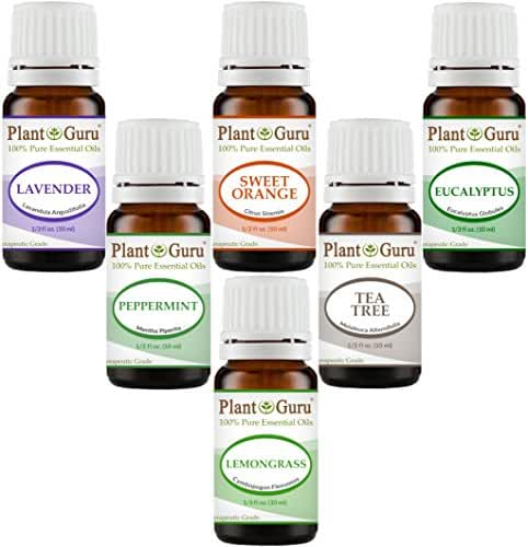Essential Oil Variety Set Kit - 6 Pack - 100% Pure Therapeutic Grade Oils 10 ml. Includes Peppermint, Lavender, Sweet Orange, Lemongrass, Eucalyptus & Tea Tree