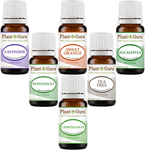 Essential Oil Variety Set Kit Top 6 Pack - 100% Pure Therapeutic Grade Oils 10 ml. Includes Peppermint, Lavender, Sweet Orange, Lemongrass, Eucalyptus & Tea Tree by Plant Guru