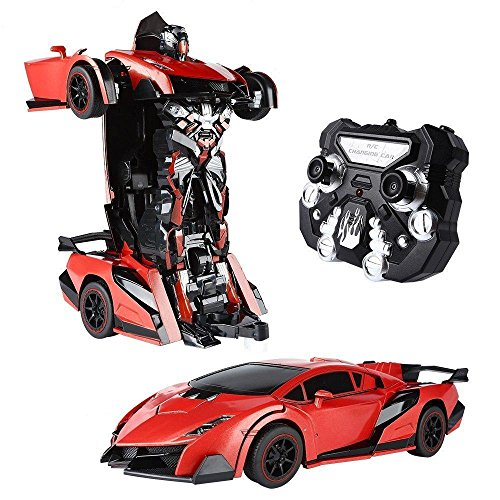 SainSmart Jr. Transform Car Robot, Electronic Remote Control RC Vehicles with One Button Tranforming and Realistic Engine Sound (Red) ()