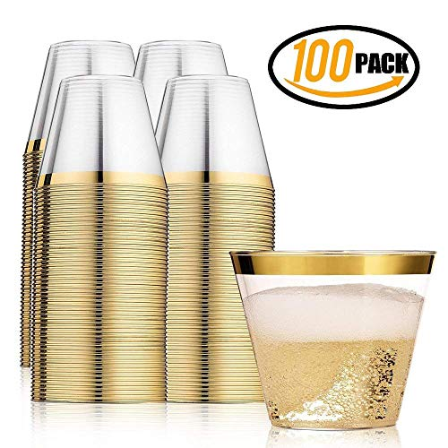 Gold Plastic Cups ~ 100 Heavy Duty Elegant Party Cups ~ Fancy Gold Rimmed Clear Old Fashion Tumblers ~ Recyclable and Disposable Wedding Cups