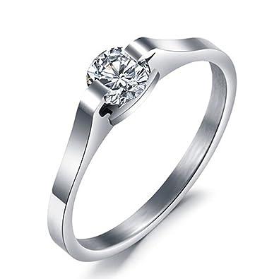 Infinity U para mujer anillo de cristal de compromiso anillos de matrimonio anillo solitario tamaño 49