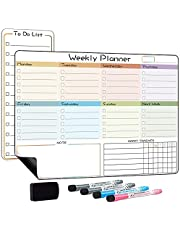 ANLIOTE Dry Erase Calendar Magnetic Weekly Planner Fridge Whiteboard and Small to Do List Board with 4 Marker Pens and Eraser, Idea for Meal Planner, Family Planner - Flexible Magnetic Calendar Fridge Organiser