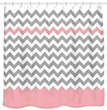 Cheap Pink Shower Curtains Sunlit Zigzag Pink and Grey White Chevron Shower Curtain, Geometric Print Zig Zag Pattern Lines and Contemporary Stripes Modern Design Fabric Bathroom Decor with Futuristic Light Color Block