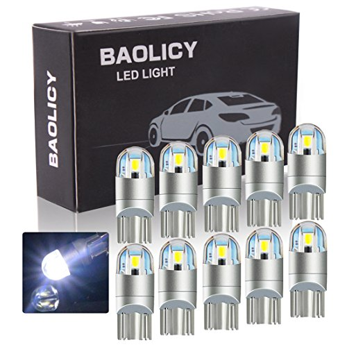 BAOLICY T10 Led Bulb,194 168 Led Bulb White,W5W Led Bulb,Courtesy Step Lights for Interior Lights License Plate Dome Map Reading Door Trunk Light