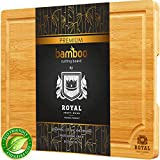 Small Bamboo Cutting Board for Kitchen with Handles and Juice Groove - Butcher Block for Chopping Meat and Vegetables
