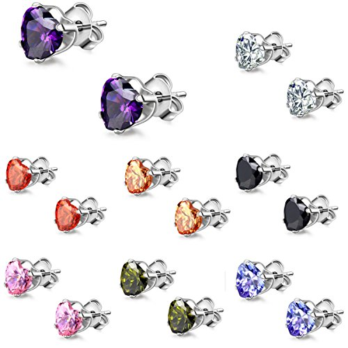 Flongo Zirconia Stainless Earrings Womens
