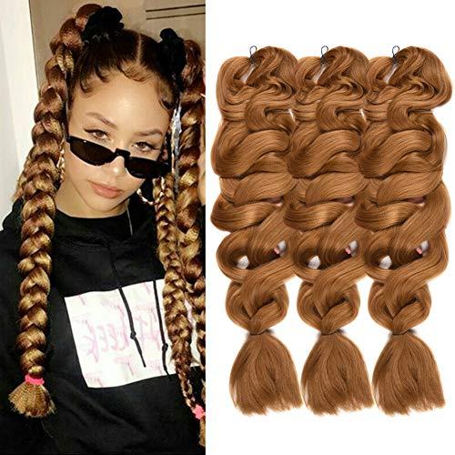 Synthetic Braiding Hair Extensions Kanekalon Hair 165G/pack 84inch Blonde Twist Braiding Hair High Temperature Hair Extensions 3Pack #27 (The Best Hair Color Brand 2019)