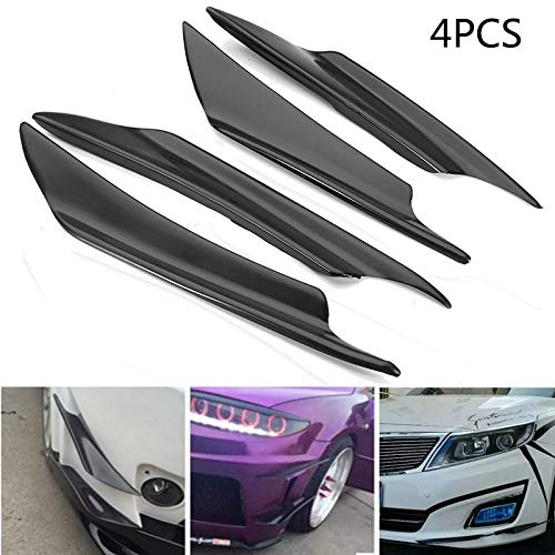 Ponis-Limos - 4pcs Universal Black Front Bumper Lip Splitter Fin Air Knife Auto Body Side Wing Spoiler For Carfront Bumper Canards Splitters ()