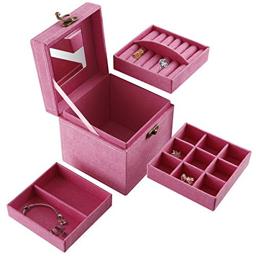 3-Tiered removable Jewelry Box / Makeup Organizer /storage with mirror - Co Online Tiffany Cheap And