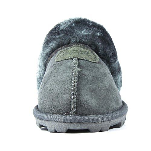 Clppli Dames Slip Op Namaakbont Warme Winter Muilezels Pluizig Suede Comfortabele Slippers Grijs