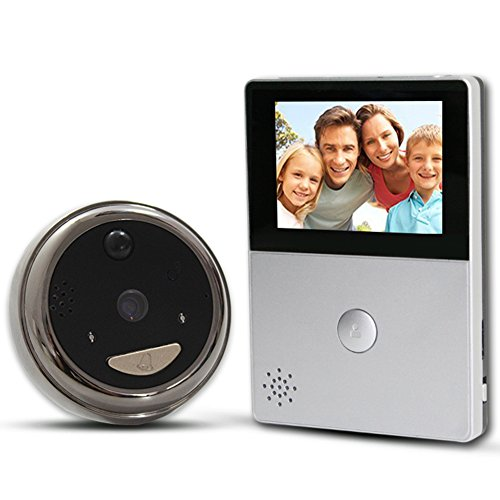 AvatarControls Smart Video Peephole Doorbell, WiFi Wireless Battery Powered Door Viewer, Night Vision 2-Way Audio Motion Sensor Door Camera for Home Security-Sliver by AvatarControls