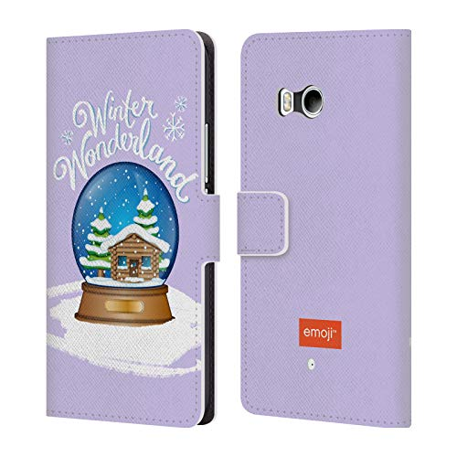 Official Emoji Snow Globe Winter Wonderland Leather Book Wallet Case Cover for HTC U11 / Dual