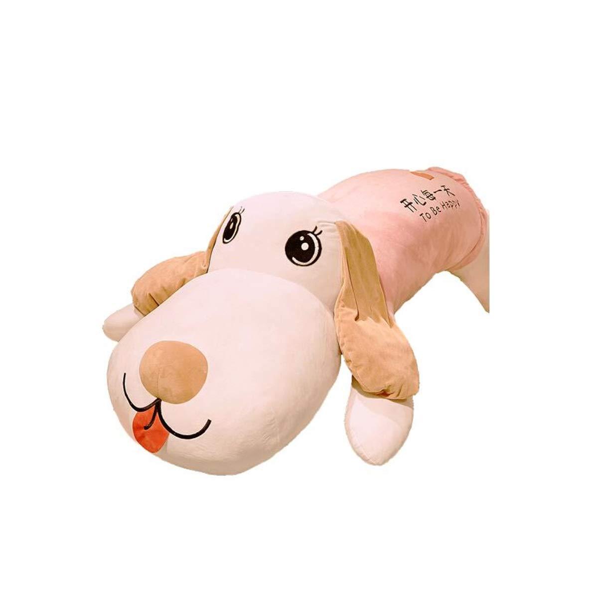 1.8 mぬいぐるみ犬枕ロングストリップ犬人形ロングストリップ人形人形抱擁クマかわいいハスキー女の子ベッド睡眠パンダバレンタインギフト白65 cmを保持 ( Color : ピンク-A , Size : 1.2m )
