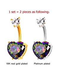 U7 Belly Button Ring Topaz Heart Ornament Platinum Plated Body Piercing Jewelry For Hot Women