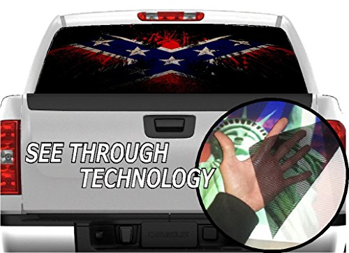 (P322 Eagle Flag Tint Rear Window Decal Wrap Graphic Perforated See Through Universal Size 65