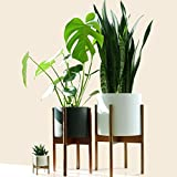 Fox & Fern Mid-Century Modern Plant Stand - Cherry - EXCLUDING 28cm White Ceramic Planter Pot