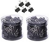 Qiorange Mini Metal Paper Binder Clips, 2 40 Pieces (19mm Black 80Pcs)