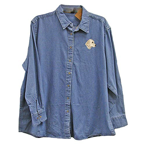 Cherrybrook Dog Breed Embroidered Ladies Denim Shirts - X-Large - Denim - Golden Retriever