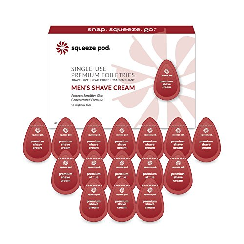Squeeze Pod Travel Shaving Cream for Men - 15 Single Use Pods - For Sensitive Skin, Leak Proof, TSA Approved Travel Size Shave Cream Made with Natural Ingredients - For Airlines, Camping, Gym Bags SC5