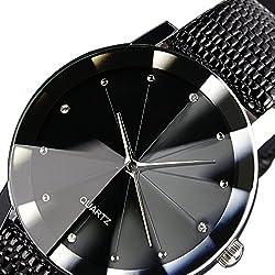 Luxury Brand 2016 Black Watches Stainless Steel Strap Fashion Men Quartz Wrist Watch Hours Men Women Dress Watches
