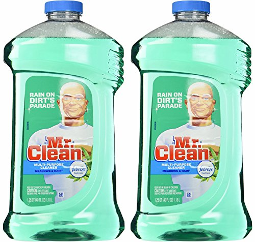 Finished Floor Cleaner - Mr. Clean Meadown & Rain Febreze Freshness Meadows & Rain Multi-Surface Cleaner 40 oz (2 Bottles), 80 Oz, Green