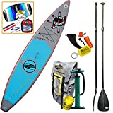Boardworks 2016 SHUBU Raven 12-6 Inflatable Touring SUP Board, Paddle & Kite Bundle (5 Items) Stand Up Paddle Board -Includes: Adjustable SUP Paddle + CX 1.5M Foil Kite + WB Can Koozie & Key Chain Fob
