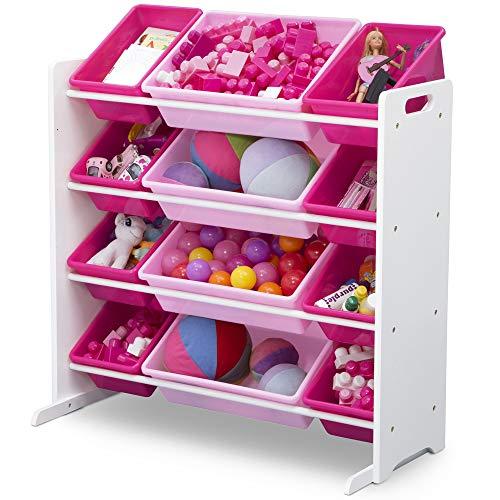514Qw PLZbL - Delta Children Kids Toy Storage Organizer with 12 Plastic Bins, White/Pink