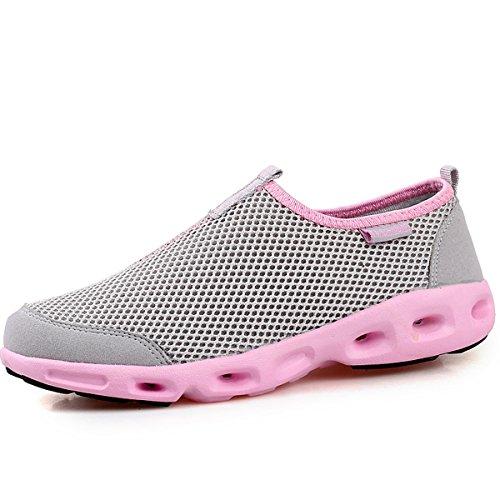 VECJUNIA Ladies Breathable Mesh Slip-On Sneakers Outdoor Running Shoes Gray
