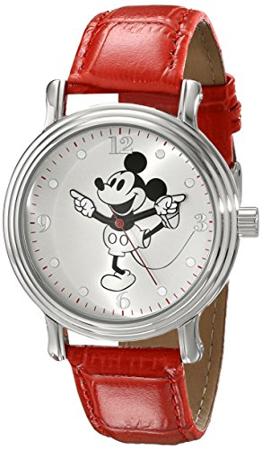 66 Mickey Mouse Silver-Tone Watch with Red Faux Leather Band ()