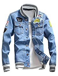 LifeHe Men Denim Jacket with Patches Light Blue 3XL